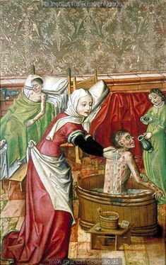 St. Elizabeth of Thuringia bathes the lepers in the Elizabeth Altarpiece from the Church of St. Agidius at Bardejov, c. 1480-1500; note the soap, piggin, and comb on a stool by the tub #TheASGproject