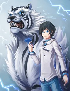 Hibiki and Byakko devil survivor 2 the animation Cute Characters, Anime Characters, Anime Devil, Anime Guys Shirtless, Manga Cute, Lol League Of Legends, Anime Animals, Animes Wallpapers, Persona 5