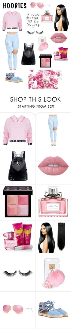 """""""Pinkish"""" by magnifiquereine ❤ liked on Polyvore featuring Louis Vuitton, Local Heroes, Chicnova Fashion, Lime Crime, Givenchy, Christian Dior, Versace, Ashlyn'd, Ray-Ban and Aquazzura"""
