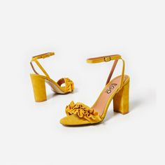 Macey Frill Detail Block Heel In Yellow Faux Suede