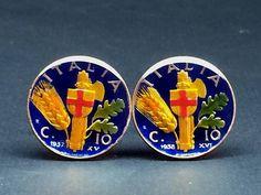 Italy coin cufflinks  22mm  Vittorio Emanuele III coin