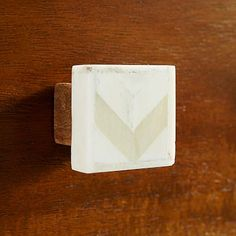 Living Room | Possibly change the hardware on the demilune piece - Bone Chevron Knob - Natural #westelm