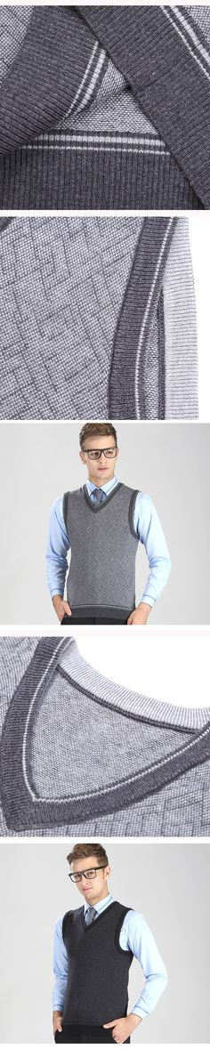 New for Autumn Winter Men's Fashion Clothing V Neck Wool Sweater Pullover Tops Casual Fashion Sleeveless Basic Knit Vest 8893