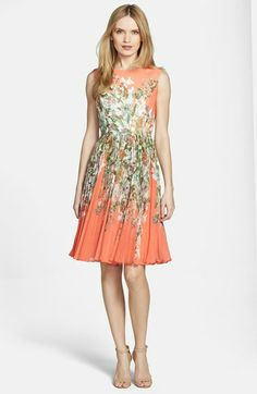 Adrianna Papell Print Chiffon Fit & Flare Dress available at #Nordstrom