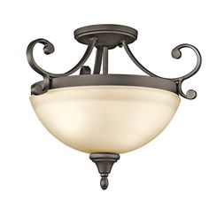 Kichler Monroe 2 Light Semi Flush Mount- 17.25W in. Olde Bronze