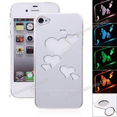 Cool Hearts Brushed Sense LED Flash Light Hard Back Case Cover for iPhone 4/4S Silver (SILVER) | Everbuying.com