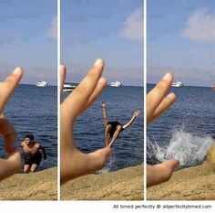 Timing right – When timing a jump every second counts. This flick of a finger helps the man jump into the water to start his swim.
