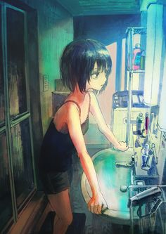 Melanime is the place to post melancholic anime artwork. Art Eras, Anime Screenshots, Kawaii Anime Girl, Anime Girls, Anime Artwork, Art Studies, Manga Drawing, Anime Style, Anime Manga