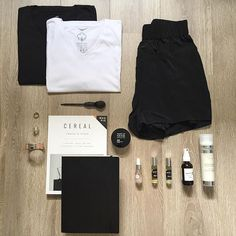 #Weekend essentials... comfort all the way with Mmerci Encore, Joelle Ciocco,   skin Inc, Cereal mag, Cartier, Hermes, tees and Grana shorts