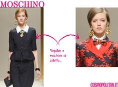 Moschino propone il colletto a punta: elemento preso dallo stile maschile ma reso super femminile da spille, dettagli preziosi e papillon.