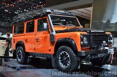 Land Rover Defender Adventure Edition front three quarter at the 2015 Geneva Motor Show