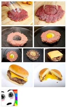 Egg Burger - Cut a hole in the middle of a ground beef hamburger patty, and fry an egg in the middle. Add cheese and eat like a Scottish egg burger. I Love Food, Good Food, Yummy Food, Awesome Food, Tasty, Egg Burger, Cheese Burger, Food Porn, Creative Food