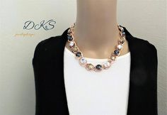 NEW, Unforgettable, Swarovski Necklace, Statement, Chunky, Rose Gold, Neutral, Modern, Trending, 12MM, DKSJewelrydesigns, FREE SHIPPING
