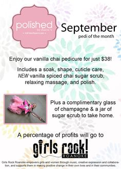 September vanilla chia pedi of the month supporting Girls Rock 2014