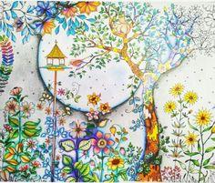 Johanna Basford - Secret Garden Jardim Secreto - colorido por mim com lápis Faber Castell