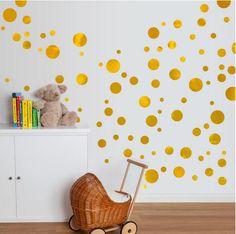 Darmowa wysyłka różne rozmiary Złoty Vinyl Kalkomania Naklejka Ścienna Art-Polka Dots, złoty Kropki na przedszkole wall