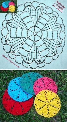 Crochet Heart Coaster Ideas 25 Ideas For 2019 Crochet Potholders, Crochet Motifs, Crochet Squares, Crochet Granny, Crochet Doilies, Crochet Flowers, Crochet Patterns, Bonnet Crochet, Crochet Diy