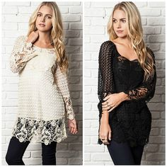 Umgee USA Bella Crochet Lace Bell Sleeve Vintage Boho Tunic Top Sweater s M L   eBay
