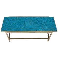 Wormley for Dunbar Blue Glass Mosaic Topped Brass Frame Cocktail Table ca.1956   From a unique collection of antique and modern coffee and cocktail tables at https://www.1stdibs.com/furniture/tables/coffee-tables-cocktail-tables/