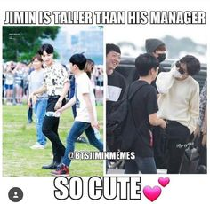 He makes jimin look like a giant when he's actually a squish aww ...but his manager is like 5'5 wth