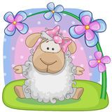 Sheep with flowers Stock Images