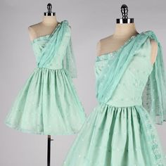 vintage 1950s dress . mint green chiffon . one shoulder