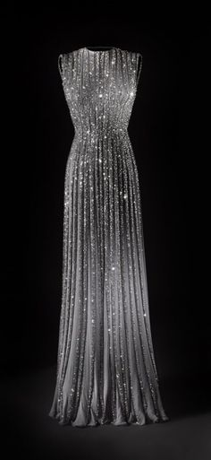 Sequined silver evening gown. Just gorgeous.