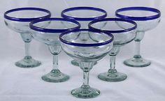 Cobalt Blue Rim Mexican Margarita Glasses Set 6 Handmade, 17oz Original - Wandering Gypsy