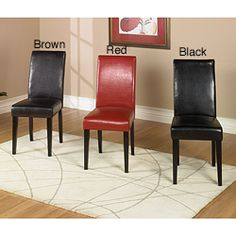 @Overstock - Update your dining or living room with this set of bi-cast leather side chairs. These chairs features soft, foam padding, a durable wood frame construction and multiple color options to match multiple decors.http://www.overstock.com/Home-Garden/High-back-Bicast-Leather-Side-Chair-Set-of-2/3370060/product.html?CID=214117 $181.99