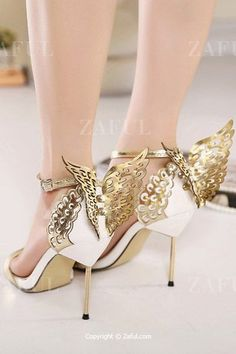 Wings Hollow Out Stiletto Heel Sandals GOLDEN: Sandals | ZAFUL