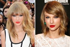 Taylor Swift: long bangs and layers to a shoulder-length bob. I think she looks amazing with short hair!