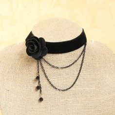 Elegant Faux Crystal and Tassel Design Velvet Flower Shape Necklace For Women - BLACK Lace Jewelry, Cheap Jewelry, Gothic Jewelry, Jewelry Crafts, Jewelery, Handmade Jewelry, Cheap Necklaces, Jewelry Shop, Diamond Jewelry