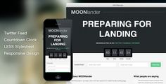 Buy WP MOONlander: Responsive Countdown Landing Page by sonnyt on CodeCanyon. WP MOONlander is a simple, clean and fully responsive mobile friendly landing page Wordpress plugin. The WP MOONlande.
