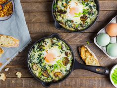 Three kinds of leafy greens combine with mushrooms, garlic, leeks, mustard, and spices to form the base for a baked-egg dish that's a bit like an omelette turned inside out. It's an ideal recipe for brunch, or really any meal of the day.