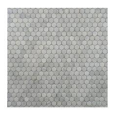 "Hexagon Pattern Natural Stone Mosaics - White and Silver-Grey / 1""x1"" / Matte"