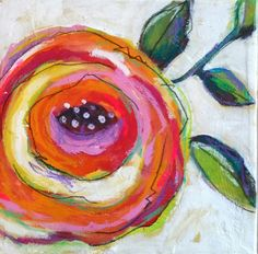 Colorful cabbage rose on canvas by Dori Patrick. Paintings I Love, Small Paintings, Zentangle, Motif Floral, Art Journal Inspiration, Whimsical Art, Art Plastique, Artist Painting, Flower Art