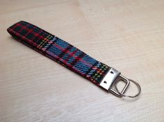 Tartan lanyard, fabric keychain, gift for him, tartan key fob, blue wristlet by AbbeyfieldsBags on Etsy