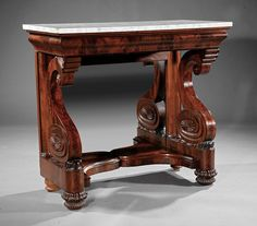 American Classical Carved Mahogany Pier Table, c. 1825