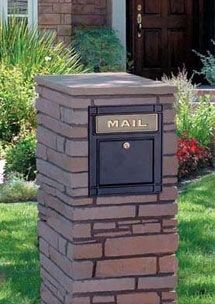 Locking Column Mailbox in Black, Shown in Brick Column (not included)
