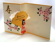 handmade card ... Asian theme ... fan swing card in open position ...