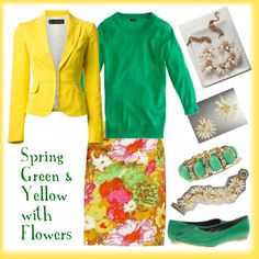 """""""Spring Green & Yellow with Flowers"""" by deneet on Polyvore"""