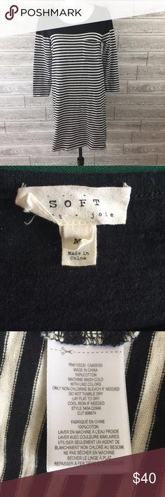 "SOFT JOIE Shirt Dress Medium Black Striped Sheath SOFT JOIE Shirt Dress Medium Black Striped Sheath Nautical Knee 3/4 Sleeve EUC  18.5"" Pit to pit 40"" Waist 33"" Length No flaws Soft Joie Dresses Midi"