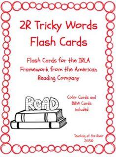 I've made NEW AND IMPROVED flashcards but I'm leaving the same great low price! These cards are for the 2R level of the IRLA framework from the American Reading Co. This comes with a red set of cards for easy color coding by level as well as a black and white set for a nice crisp dark print while saving color ink.