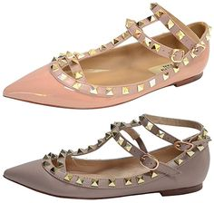 Kaitlyn Pan Strappy Ballerina Leather Flats in rose pink and taupe nude, $109 (Valentino Rockstud dupes)