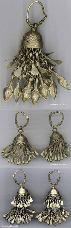 Afghanistan   Earrings (two pairs and a single): silver alloy   Collection: Afghanistan Museum in Exile, Bubendorf, Switzerland. Accession No. 0599, 0600 and 0601