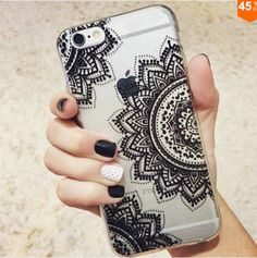 Black Henna Mandala Transparent Clear case soft by iCaseLeluxe