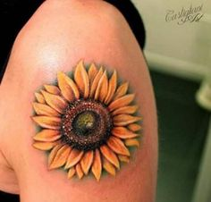 Sunflower Tattoo on Shoulder by Castigliani