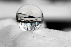Life Through a Marble winter optical illusion marbles macro