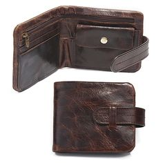 Classical Genuine Leather Mens Wallets Short Fund 2 Folds Oil Bright Style Hasp Business Casual Coins Change Pocket Purse Wallet #Affiliate