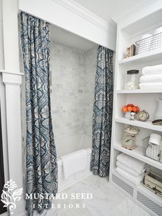 bead board in front of tub; shelves; trim  Miss Mustard Seed-1-2